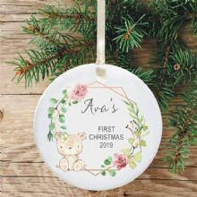 Baby Girl's 1st Christmas Ceramic Christmas Tree Decoration  - Cute Bear & Flowers Design